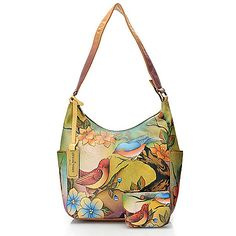 718-249 - Anuschka Hand-Painted Leather Zip Top Hobo Handbag w/ Coin Pouch