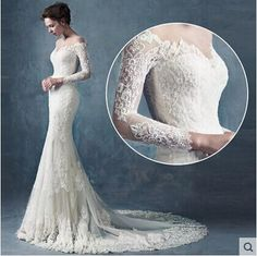 Unique Wedding Dresses Fishtail Wedding Dress Han Edition Bride A Word Shoulder Waist On The New 2015 Fashion 3/4 Long Sleeve Lace Vintage Wedding Dress Wedding Dress Short From Ainewang, $226.17| Dhgate.Com