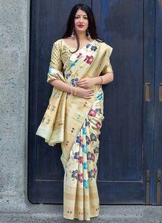 1fa8d1db0ec6e Cream Colour Woven Banarasi Silk Blend Saree With Blouse Designer Sarees  Collection