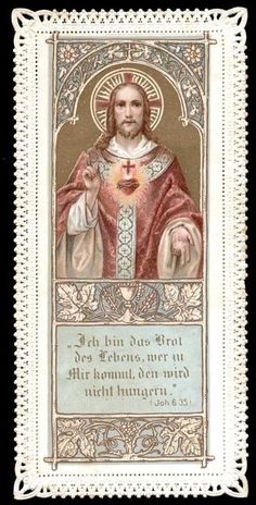 old holy card lace canivet santino merlettato*SACRED HEART OF JESUS 23