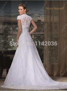 bb77bb0d9e17b Online Shop Romantic Sheer Lace Short Sleeves Wedding Dress 2016 Casamento Long  Wedding Dresses Vestido De