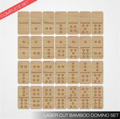 Laser cut bamboo domino set