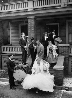 Old time Polish wedding in Detroit.  The Polish band plays at the bride's home as she leaves for the church.