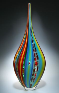 """Rainbow Resistenza"" art glass vessel  by David Patchen"
