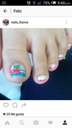 Uñas Cute Pedicure Designs, Toe Nail Designs, Cute Pedicures, Manicure And Pedicure, Toe Nail Art, Toe Nails, Pretty Toes, Simple Designs, Pretty Pedicures