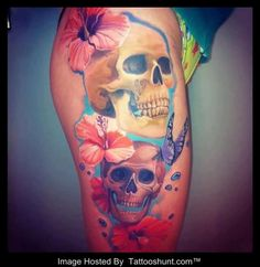 Lily 3D Flower And Skull Tattoos On Side | Tattooshunt.com