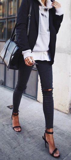 #fall #outfits  Black Jacket   Grey Sweater   Black Ripped Skinny Jeans   Black Sandals