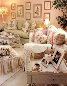 Vintage Floral Living Room | Pink, Green and Cream Living Room | Feminine Living Room