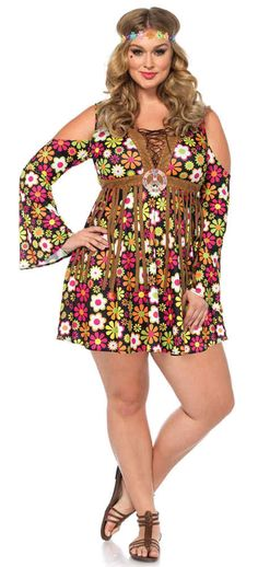 Women's Plus Size Starflower Hippie Costume - Candy Apple Costumes
