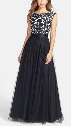 Negro vestidos de baile, una línea de vestido de fiesta, tul vestido de fiesta, vestidos de baile del cordón de 2016 vestido formal, mangas del casquillo de los vestidos de noche, vestido de partido del cordón de la vendimia, vestido de gala para los adolescentes