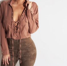 """Tops Type:shirt Clothing Length:Short Sleeve Length:long sleeve Style:Fashion Material:chiffon pattern:pure color Color:brown Size: XS (US size) Bust: 31-33"""", Waist: 23-25"""", Hips: 33-35"""" S (US size) B"""