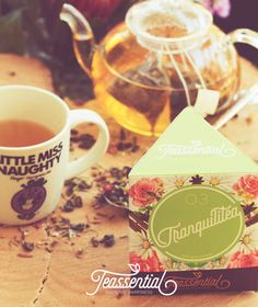 Relaxing green tea and calming chamomile. Catch a much-needed tranquil moment during that rowdy, stressful day. tranquilitea by teassential.