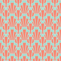 Coral and Mint Deco fabric by crowlands on Spoonflower - custom fabric
