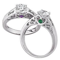 i want one!: Sterling Silver Couples Name and Birthstone CZ Promise Ring at HSN.com.
