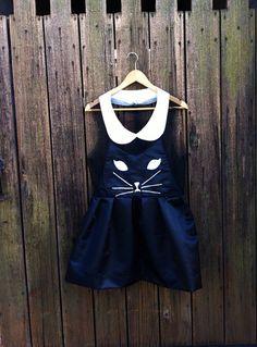 Handmade Kawaii Kitty Cat Dress Black by TheDandyLionShop on Etsy