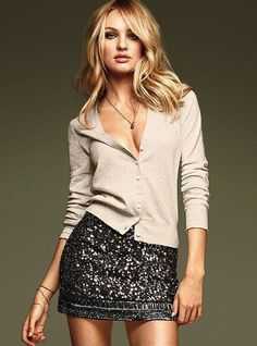 Cardigan and Sparkly Skirt