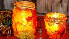 How to Make Easy Fall Leaf Candle Mason Jar Craft… Fall Mason Jars, Mason Jar Candles, Mason Jar Crafts, Diy Crafts To Do, Paper Crafts, Diy Paper, Fall Crafts For Adults, Diy Crafts For Boyfriend, Cabin Crafts