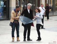 A scene fron 2015 Series of Doctor Who, with Peter Capaldi as the 12th Doctor, and Jenna Coleman as Clara; their new companion