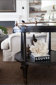 side table styling; classic clean living room