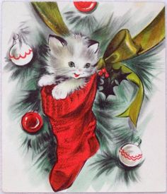 #1356 50s Sweet Kitty Cat in the Stocking-Vintage Christmas Greeting Card