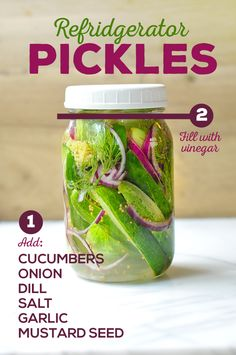 Pink Refrigerator Dill Pickles - Easy recipe for dill pickles in the fridge using a Mason jar to measure. No actually canning required! Great for first time picklers. Cucumbers And Onions, Pickling Cucumbers, Mason Jar Crafts, Mason Jar Diy, Refrigerator Pickles, Canning Recipes, Canning Tips, Favorite Recipes, Homemade
