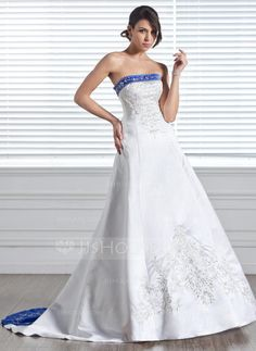 A-Line/Princess Strapless Court Train Satin Wedding Dress With Embroidered Sash Beading (002005281) - JJsHouse