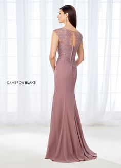 Cameron Blake 118667 is a chiffon and beaded metallic lace trumpet gown that has cap sleeves and a bateau neckline made of illusion lace and beading, lace that continues down the sweetheart bodice to an asymmetrically dropped waist. Formal Dresses With Sleeves, Mob Dresses, Formal Gowns, Cheap Dresses, Elegant Ball Gowns, Elegant Dresses For Women, Fabulous Dresses, Mother Of The Bride Dresses Long, Mothers Dresses
