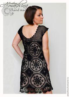 """Платье крючком """"Чёрная лилия"""". #Crochet_black_dress."""