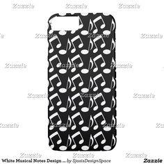 White Musical Notes Design Phone Case