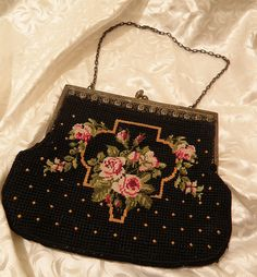 Petit Point Purse with Roses by talkingbirdie on Etsy