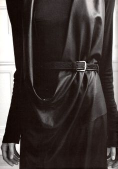 Ann Demeulemeester | Long sleeve woollen dress and leather tunic (1997)