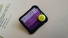 Crochet rectangle purple brooch