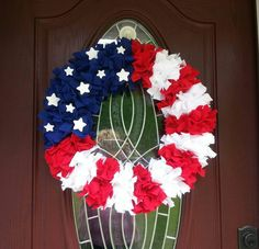 4th of July Wreath American Flag Wreath Patriotic Wreath Red White and Blue Wreath Patriotic Decor Flag Decor American Pride Wreath by CathyCJewelsandDecor on Etsy