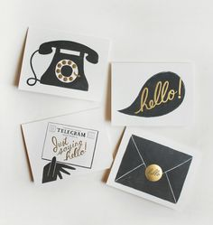 "Rifle Paper Co. adds foil to their already irresistible design aesthetic - wise move!!    | Black + gold / type / little icons / particularly love the ""hello"""