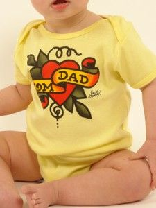 Sailor Jerry Mom & Dad Tattoo Baby Onesie - This is Vinnie through and through.