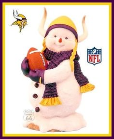 MINNESOTA VIKINGS FOOTBALL WINTER STATUE SNOWMAN NEW by NFL. $34.88. GREAT GIFT FOR ANY VIKING FAN. RETIRED, RARE COLLECTIBLE, NO LONGER IN STORES. SKOL VIKINGS!!!. CUTEST SNOWMAN EVER!. HAND PAINTED BY RIDGEWOOD COLLECTIBLES. FOOTBALL   WINTER STATUE   SNOWMAN   NEW  OVER 7 INCHES TALL-  VERY HEAVY  SKOL VIKINGS  GREAT GIFT  NEW  RARE FIND, NO LONGER IN PRODUCTION  THANK YOU. Save 30%!