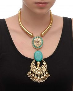 Tusk Necklace with Turquoise Pendant - Delivery Before Diwali - Designers