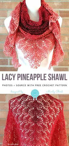 Whimsical Lace Ideas Free Crochet Patterns Lacy Pineapple Shawl Free Crochet Pattern Learn the basic Crochet Lace Scarf, Crochet Shawl Free, Crochet Wrap Pattern, Crochet Shawls And Wraps, Crochet Scarves, Crochet Clothes, Lace Shawls, Lace Crochet Patterns, Crochet Granny