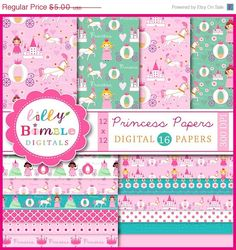 50% off Princess digital scrapbook papers with castle, kingdom, horse carriage, cute patterned papers for birthday parties Digital Download