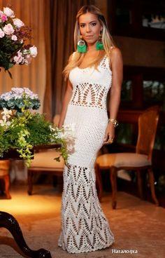 crochelinhasagulhas: Vestido longo branco em crochê