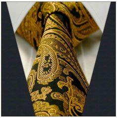 Black / Gold Paisley / Floral Necktie
