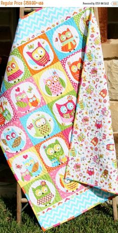 Eule Baby Quilt Patchwork Girl Bettwäsche von SunnysideDesigns2