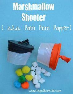 Marshmellow Shooter - Super fun Plastic cup, balloon, mini marshmellows/pom poms.