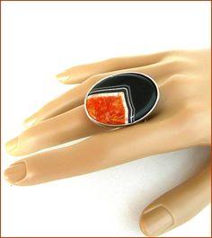 Black/orange Agate stone woman ring Bague Grosse Agate Agate Stone, Gemstone Rings, Enamel, Gemstones, Orange, Woman, Accessories, Etsy, Black