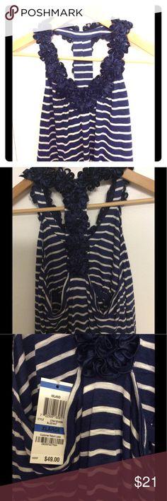 Navy blue striped razor back top Decorative navy blue flowers around neckline.  Built in bra shelf.  Navy blue stripes.  100% rayon.  Machine wash cold.  Gorgeous! I.N.C international concepts Tops