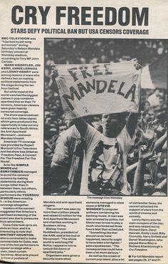 This Day in History:  Feb 11, 1990: Nelson Mandela released from prison http://dingeengoete.blogspot.com/ http://www.annie-lennox.com/Scans%202/Nelson-Mandela-Concert-arti.jpg