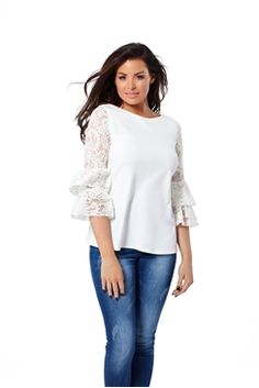 1286324526e9c2 Jessica Wright White Ola Lace Sleeve Top Celebrity Outfits, Jessica Wright,  Blouse, Stuff