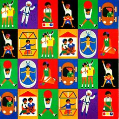 A selection of children's posters designed by Fredun Shapur, from the cover of the Creative Playthings 1973-1974 product catalog, United States, 1973, by Creative Playthings.