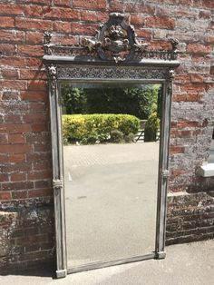 A Stunning large Antique Century French original silvered and painted carved wood & gesso Mirror. Distressed Mirror, Wood Mirror, Floor Standing Mirror, Mirror Painting, Antiques For Sale, Antique Photos, French Antiques, 19th Century, Carved Wood