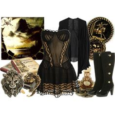 Oath Bound, created by beyondthewallofsleep on Polyvore, this outfit is basically breath-taking- the dress and boots are so steampunk- pirate-y, also girlie and feminine. elegant